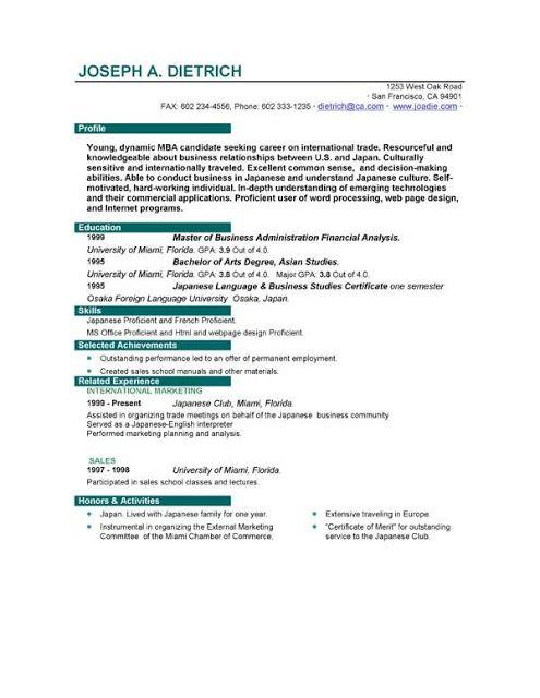 First Job Sample Resume - Resume Design - Resume Template - CV