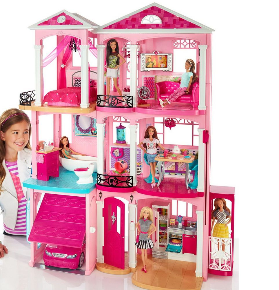 New Mattel Barbie 3 Story Pink Furnished Doll Town House