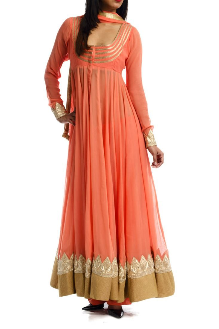 Exclusive designer wear long anarkali dress material