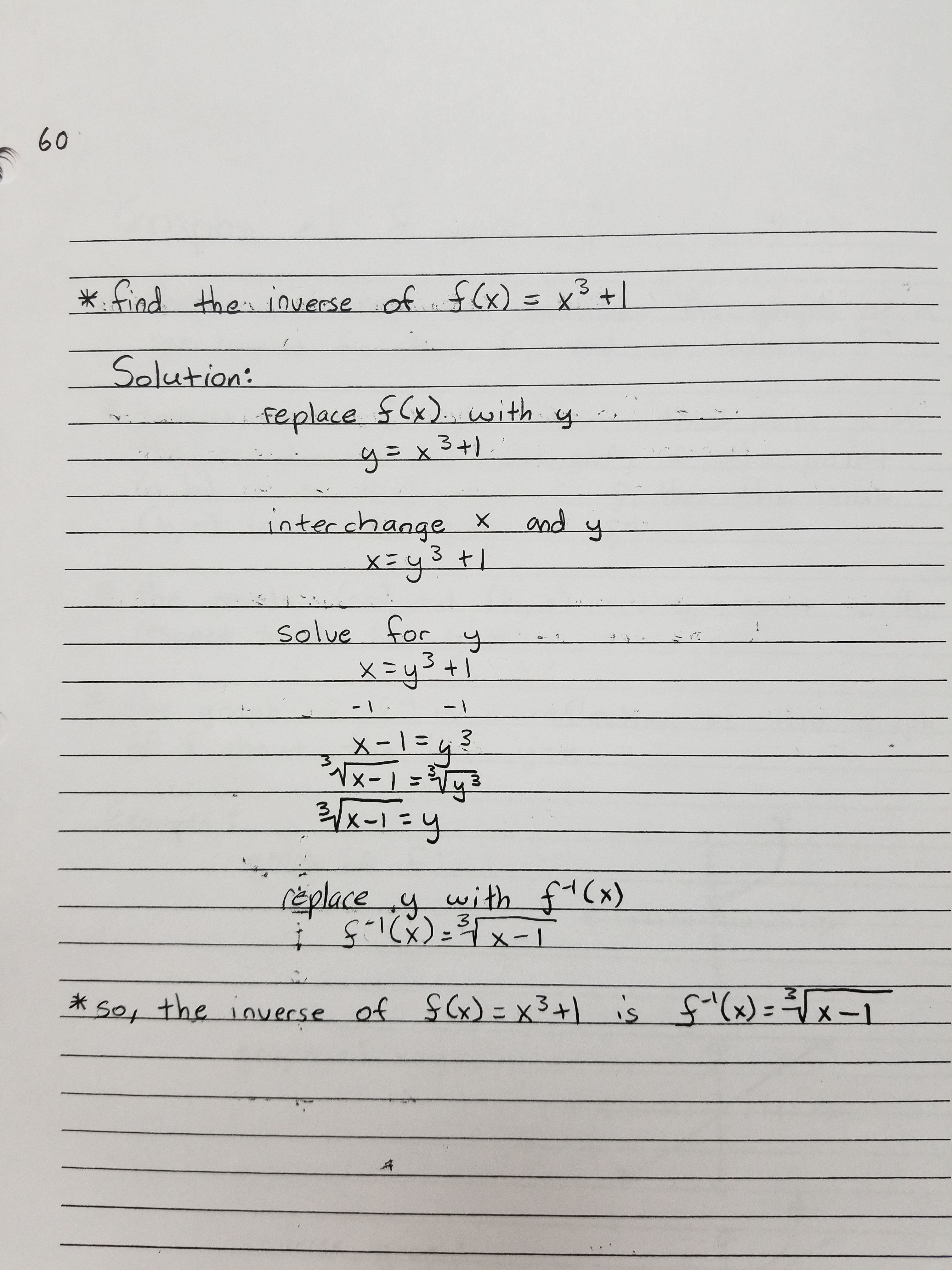 Finding Inverse Functions Example 2 Inverse Functions Worksheet Template Math Notes