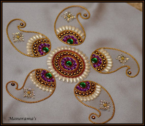 Floor art kundan rangoli designs studded by for Floor rangoli design