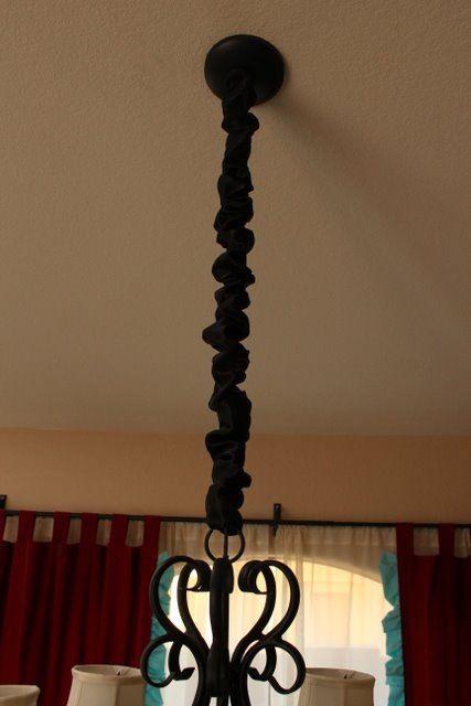 REMOVABLE Chandelier Chain Cord Cover~Black Silk~HOOK n LOOP~3//6//9//ft