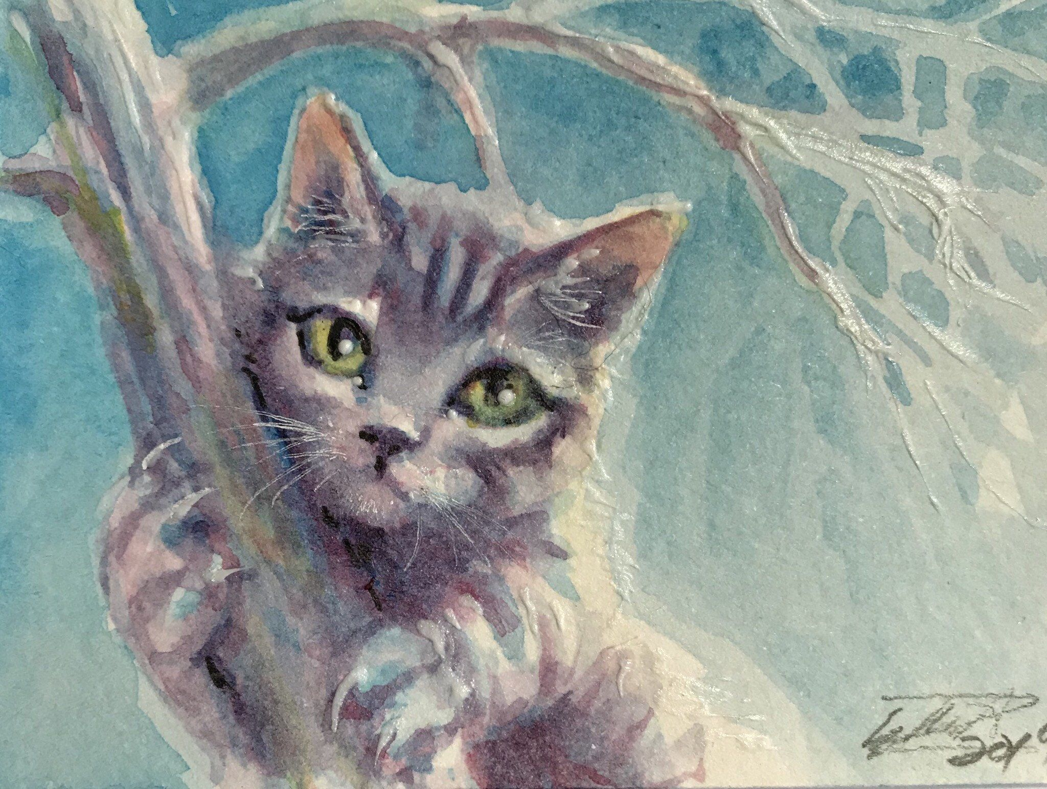 Aceo Original Painting Kitten Cat Artwork Cat In Tree Art Trading Card Pet Animal Paintings E A Eakin H Artettina A Animal Paintings Cat Painting Cat Artwork