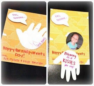 """Grandparents Day Card / Valentines Day Card . . . """"Hey Grandma & Grandpa... Blowing Kisses Your Way!... Happy Grandparents Day! . . cute hand print kids art craft"""
