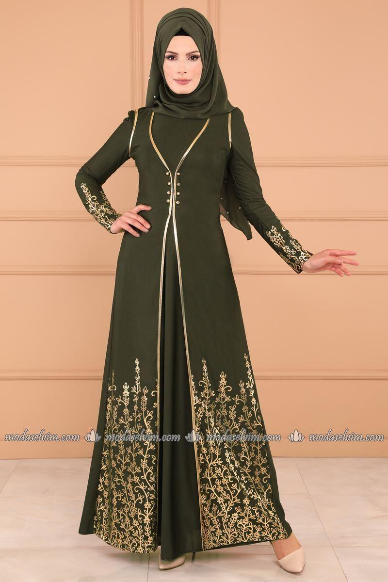 Yelek görünümlü elbise asm haki abayas pinterest dresses