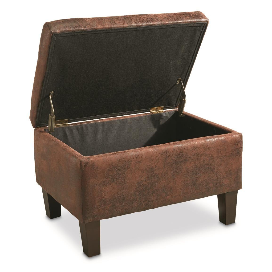 Castlecreek Concealment Ottoman Microfiber Storage Ottoman Bench Modern Footstool