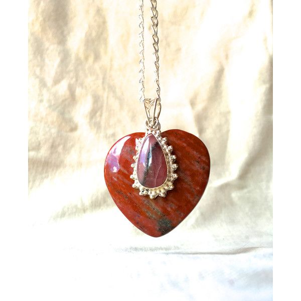 Red jasper stone heart pendant necklace jasper heart necklace stone red jasper stone heart pendant necklace jasper heart necklace stone pendant red jasper pendant long necklace minimalist anniversary gift by funnfiber on aloadofball Image collections