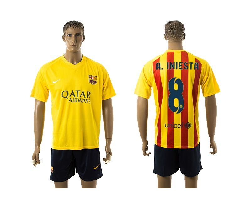 2015-2016 Barcelona Away #8 A.INIESTA Yellow Soccer Jersey