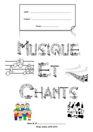 Page De Garde Cahier De Musiques Et Chants Cahier De Musique Pages De Garde Cahiers Coloriage Musique