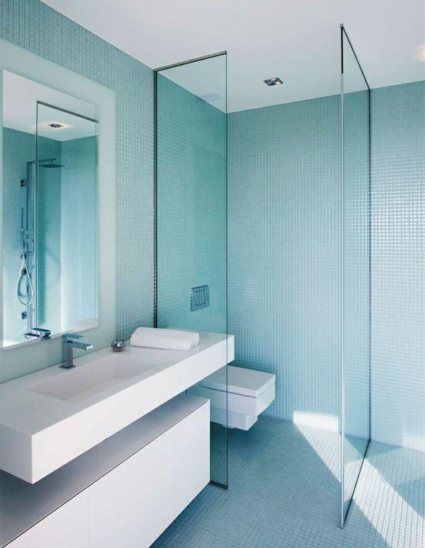 Mosaik Fliesen Badezimmer Duschkabine Glas Weiß Waschbecken