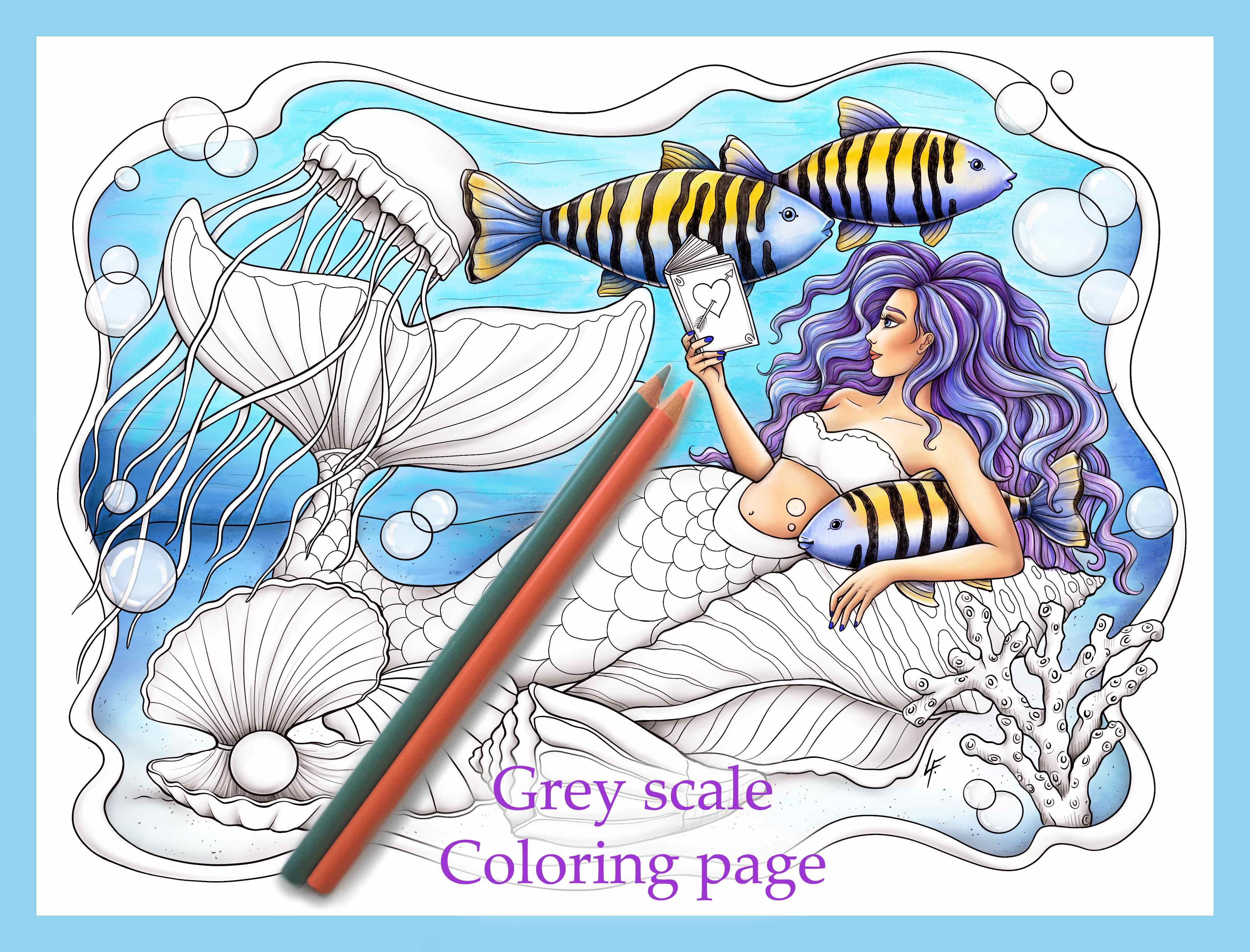 Coloring page mermaid grey scale pdf download and print