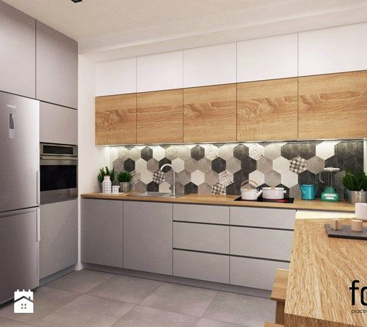 Aranzacje Wnetrz Kuchnia Mieszkanie Dabie Park Srednia Zamknieta Kuchnia W Ksztalcie Litery L Styl Eklektyczny Forma Kitchen Decor Home Decor Kitchen