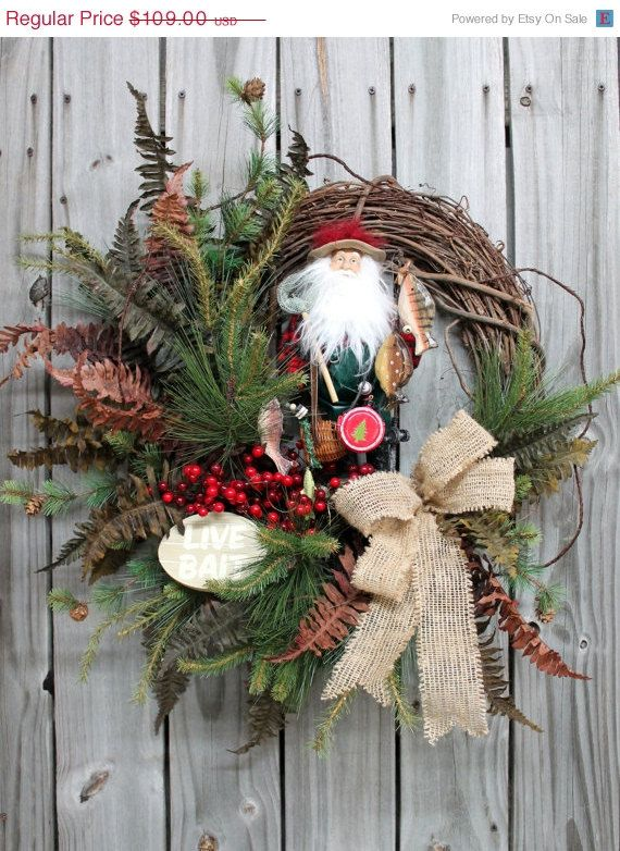 ON SALE Santa Is Going Fishing, Christmas Wreath, Free Shipping