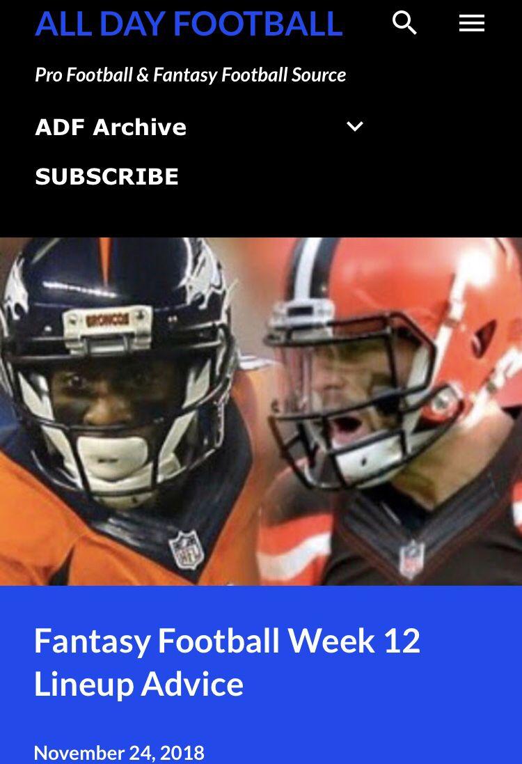 Just Released Ff Week 12 Lineup Advice Allday Football Blogspot