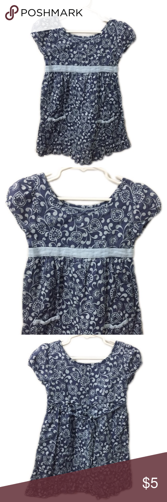 """🎈B2G1🎈Mossimo Supply Co. Blue Printed Dress, XS Mossimo Supply Co. Blue Printed Dress, XS, around a size 4T. GUC, normal wash wear.🎈This item is eligible for the """"Buy 2 Get 1 Free"""" promotion in my closet with a minimum purchase of $15. Free items are to be of equal or lesser in value than the other items. Mossimo Supply Co. Dresses Casual"""