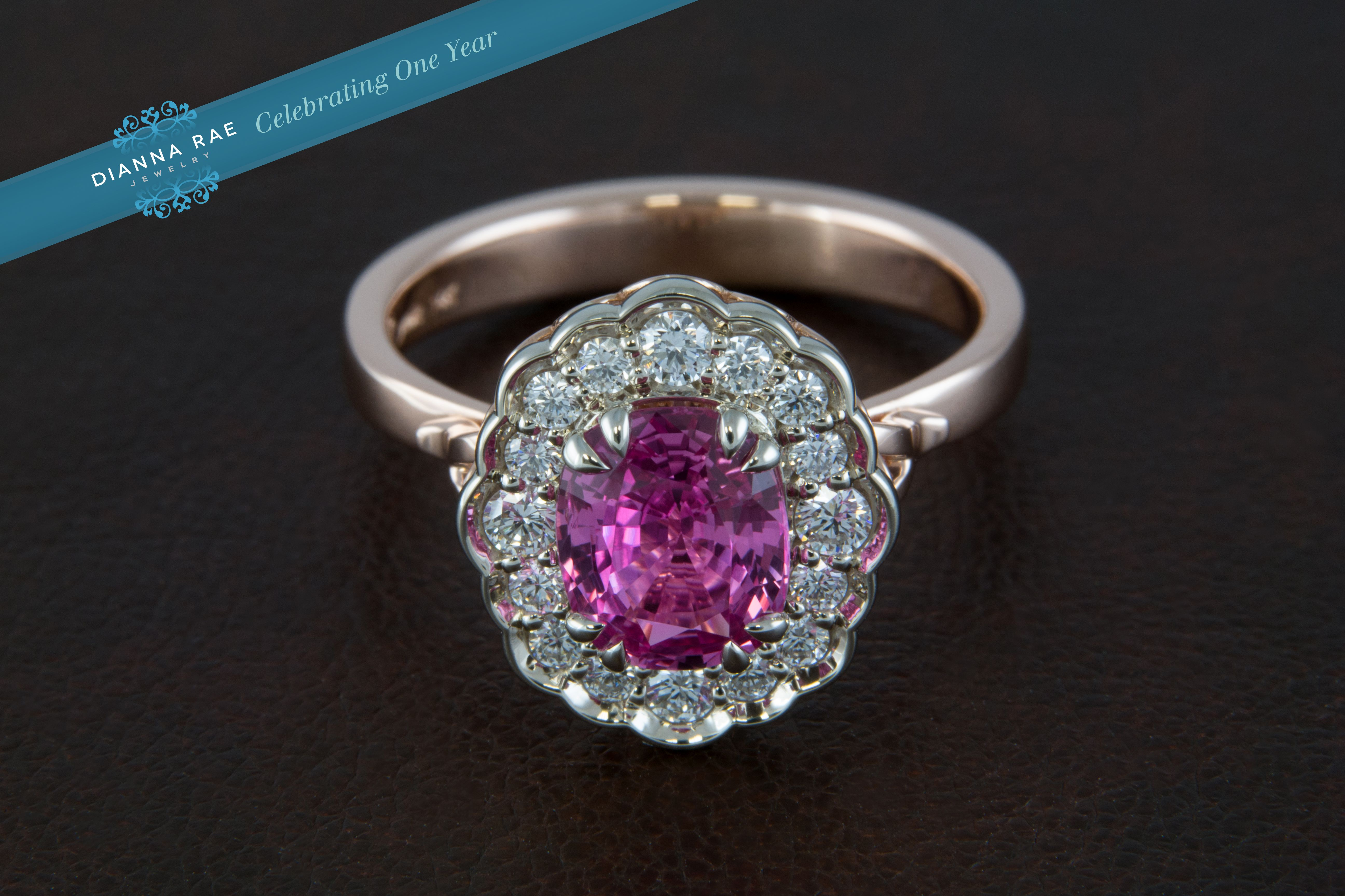 Rarely this saturated the pink sapphire in this ring is intensified