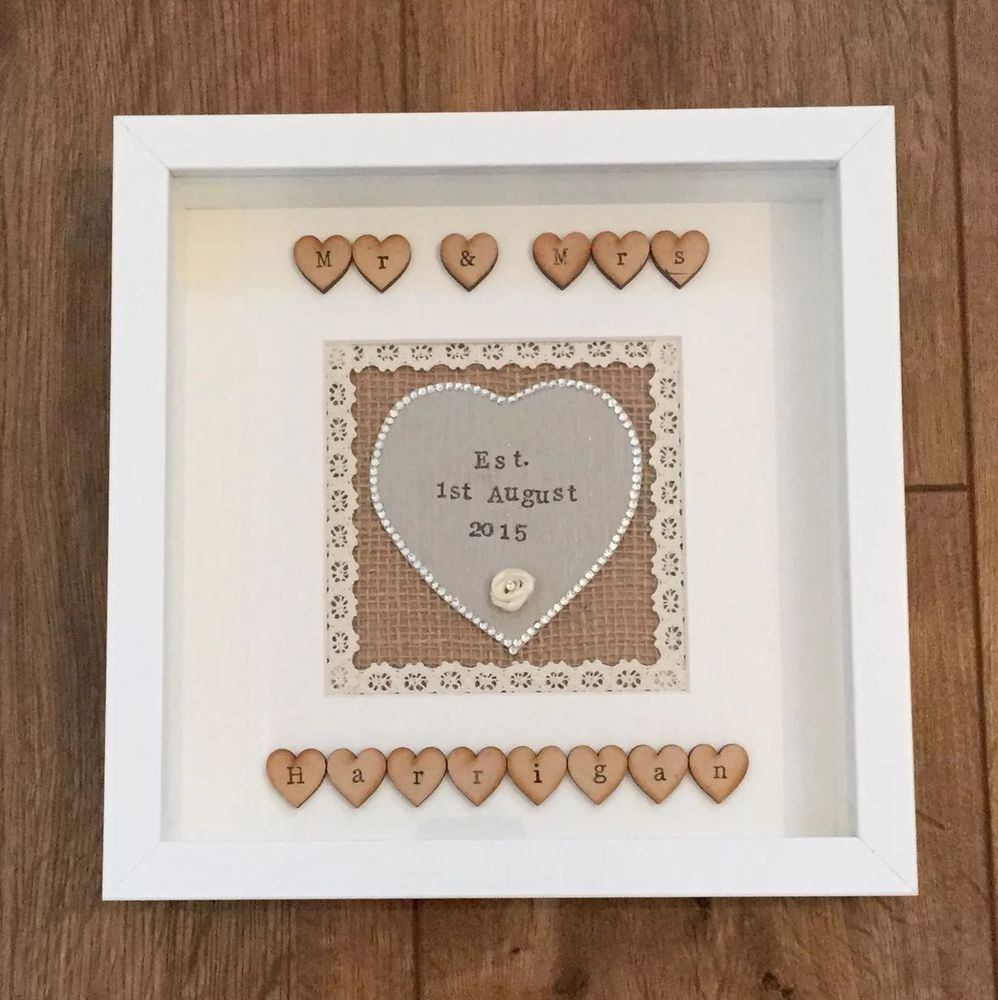 Personalised Wedding Gift Frame Shabby Chic Vintage Heart Handmade