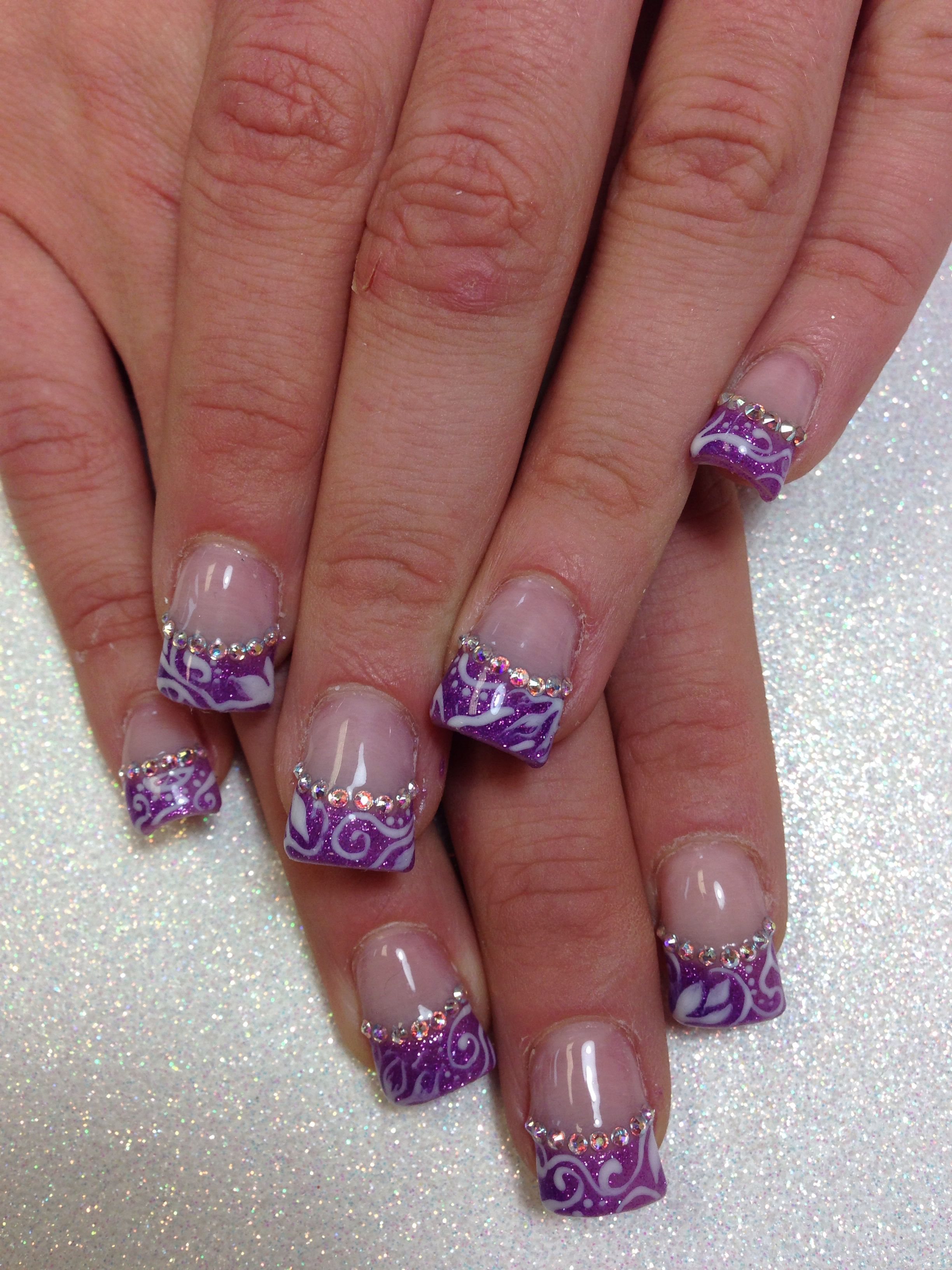 purple glitter gel french manicure