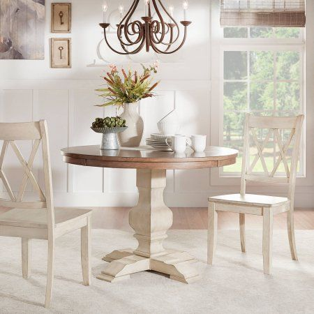 Weston Home 45 Round Oak Top Dining Table With Antique Whitepedestal Base Walmart Com Dining Table Round Dining Table Oak Dining Table