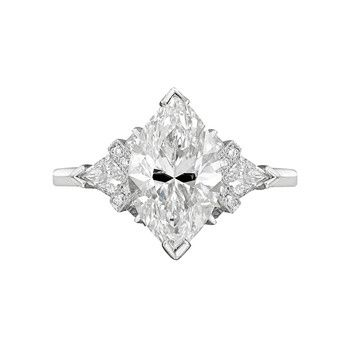 Betteridge: Marquise-Shaped Diamond Engagement Ring with kite-shaped  diamonds with baguette cut