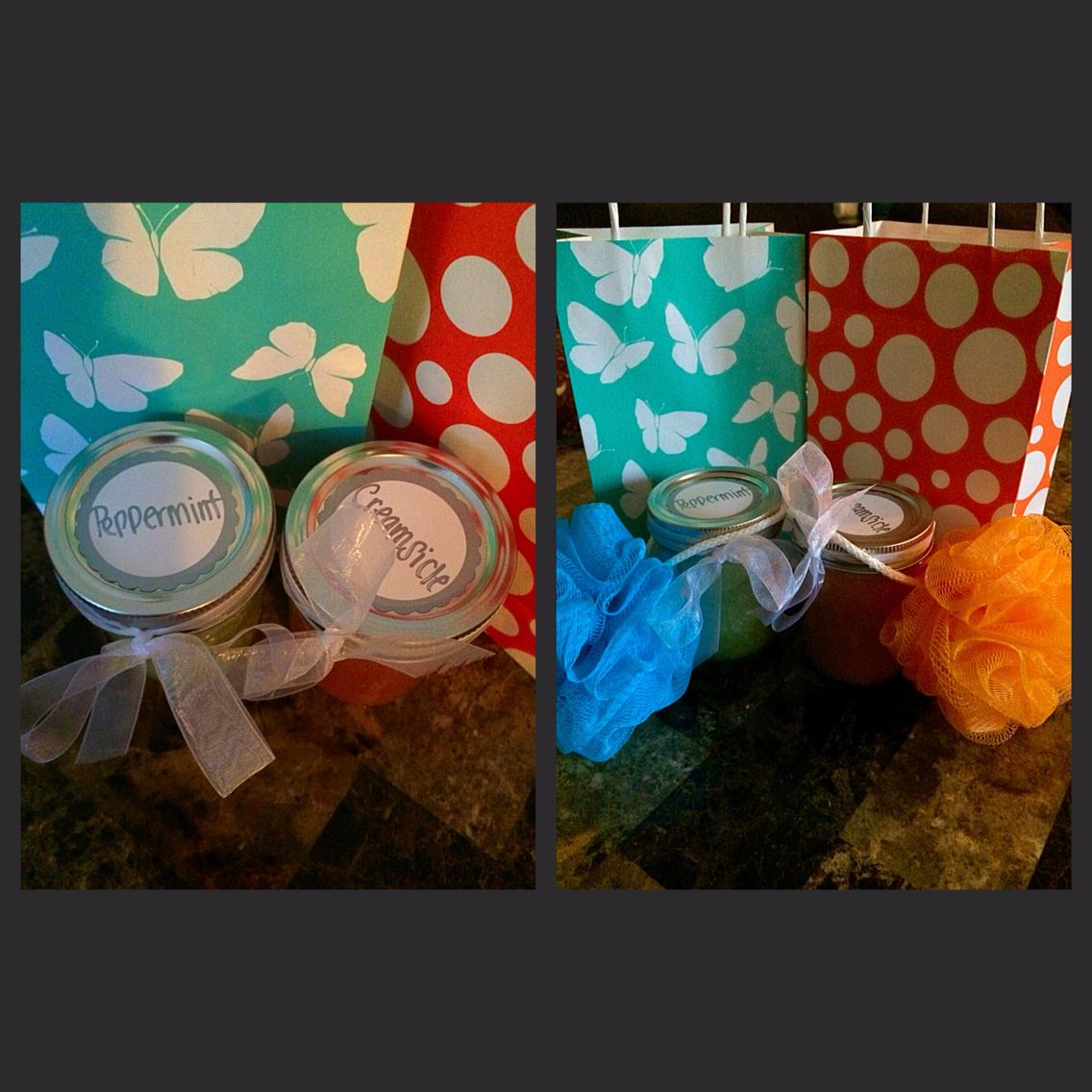 Inspired by Pinterest! Homemade sugar scrubs (peppermint and creamsicle). Paired with a tiny loofa and nail gift certificate!