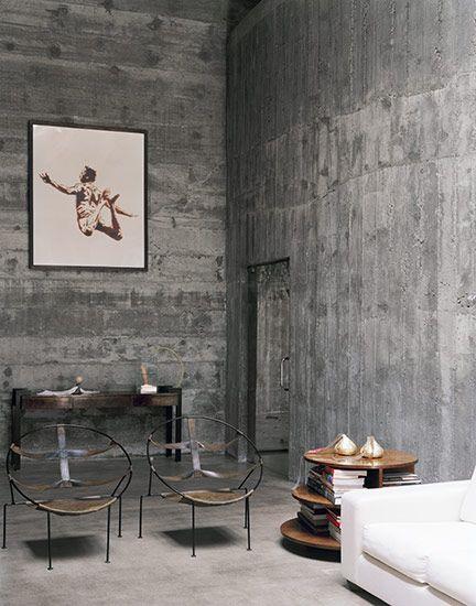 Residência Edu Leme Hall de entrada, Interiores y Eres tú - paredes de cemento