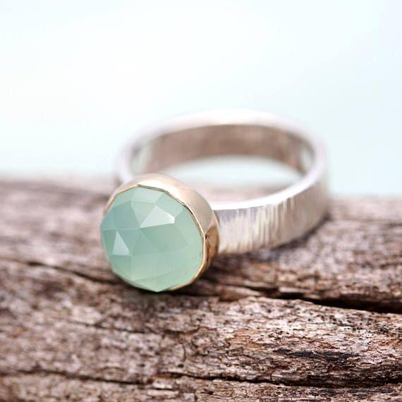 aqua chalcedony ring sea foam green chalcedony mixed metal