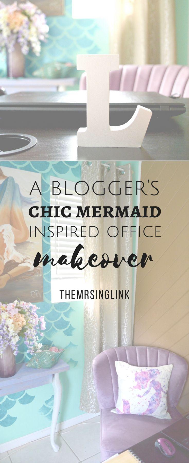 A Bloggeru0027s Chic Mermaid Inspired Office Makeover | Chic Mermaid Decor |  Chic Beach Office Makeover | Office Ideas | Office Decor Ideas | Beach Decor  Ideas ...