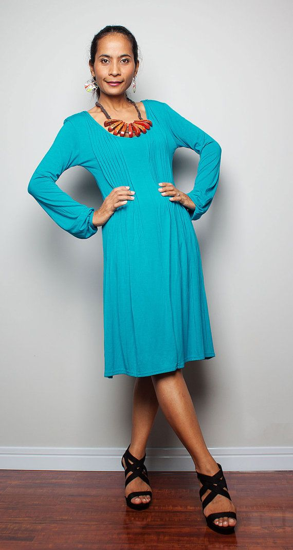 Short Turquoise Dress with Long Sleeve - Casual Dress : Autumn ...