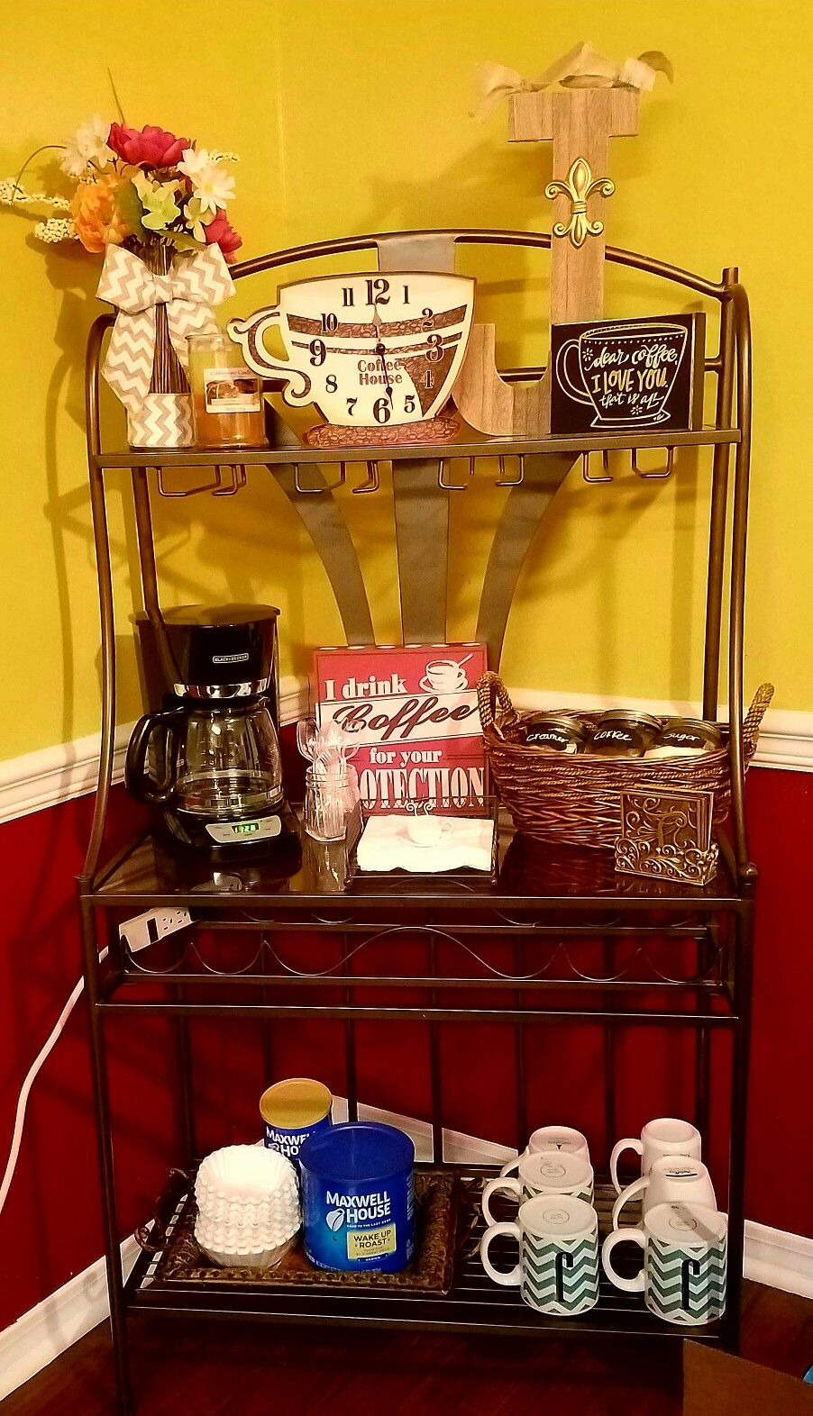 Made A Coffee Bar From A Bakers Rack Very Easy And Cheap Most