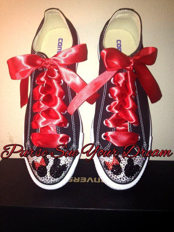 5f61ce5b1753 Custom Swarovski Crystal Minnie   Mickey Mouse Converse Shoes - Minnie  Birthday - Mickey s Clubhouse