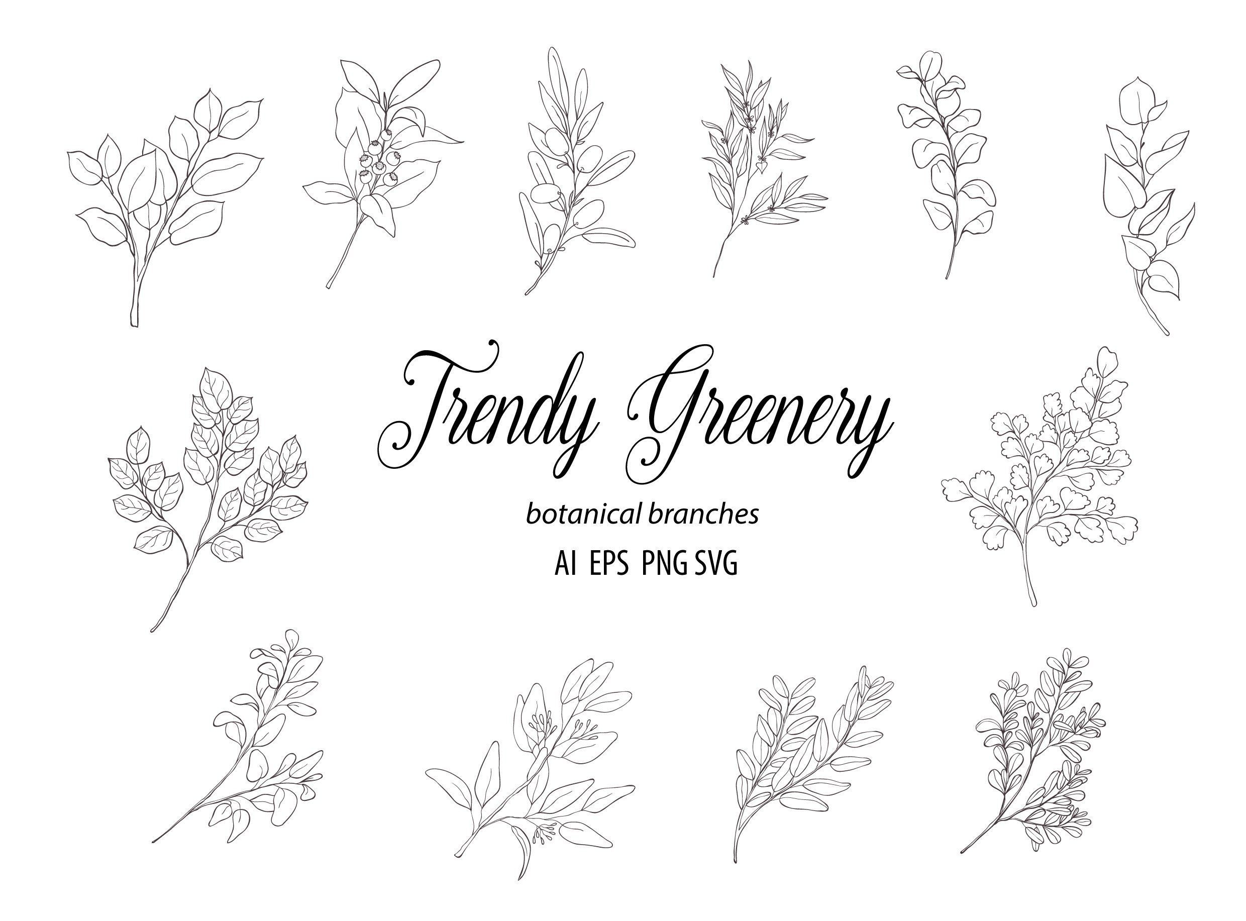 Greenery clipart with floral alphabet png Eucalyptus watercolor modern alphabet clipart Hand drawn florals for feminine logo