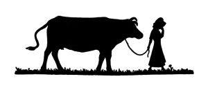 Girl Leading A Cow Curious Clipart Vintage Clip Art