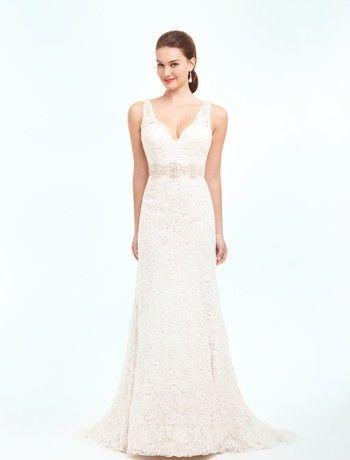 Danielle Caprese Sheath Wedding Dress with V-Neck Neckline and ...
