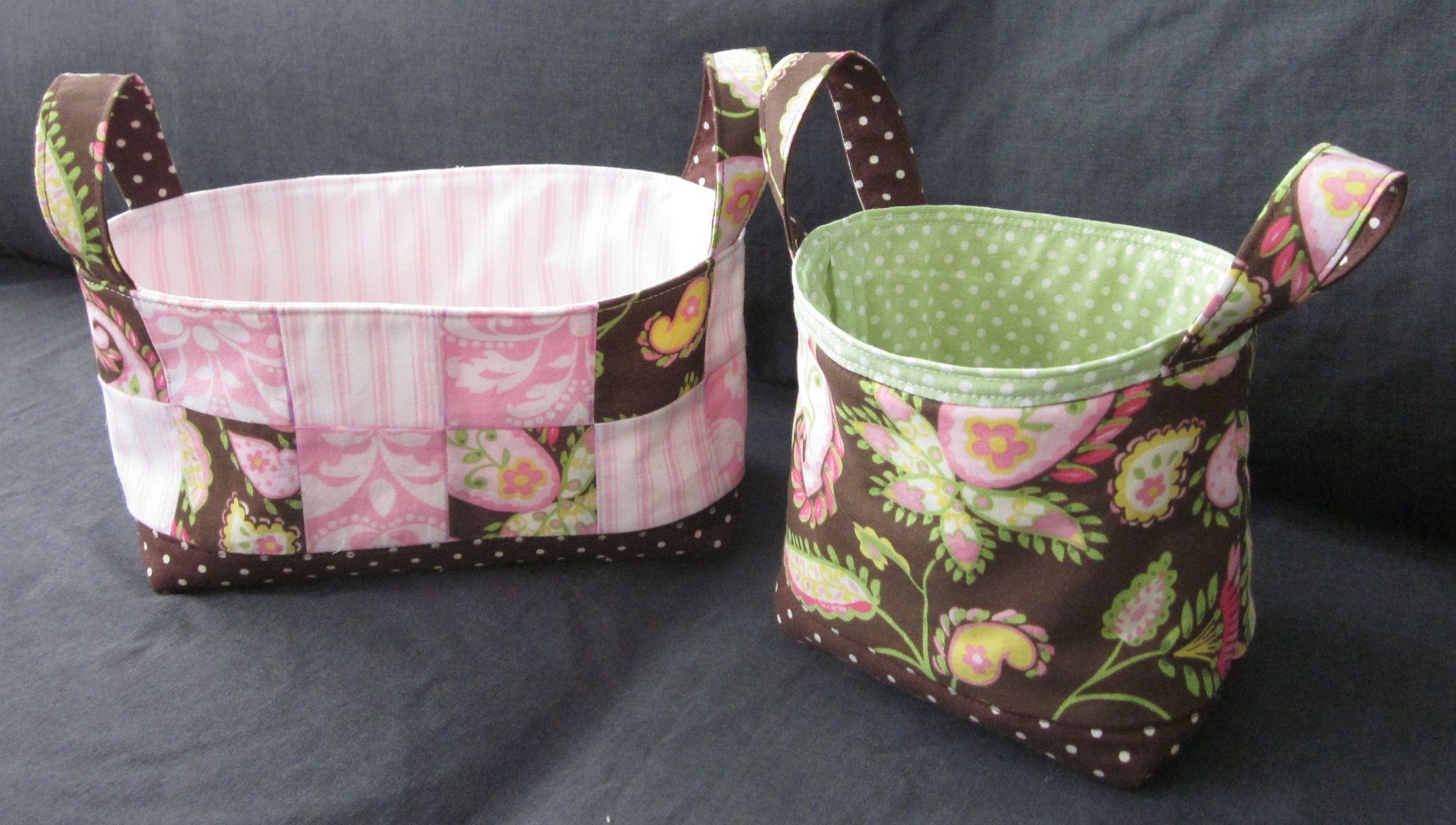 Fabric baskets.