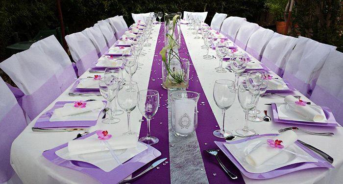 decoration mariage mauve et blanc