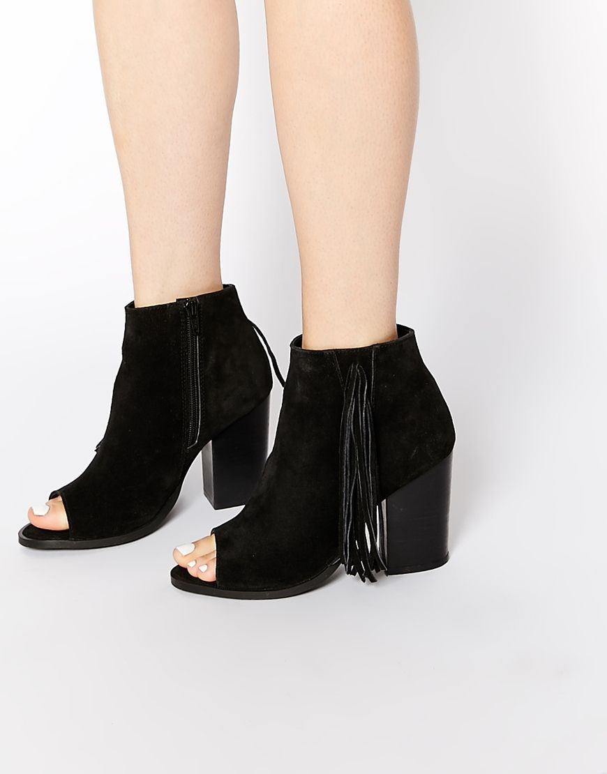 ENLIGHTEN Fringe Leather Peep Toe Boots | Fringes, Ankle boots and ...