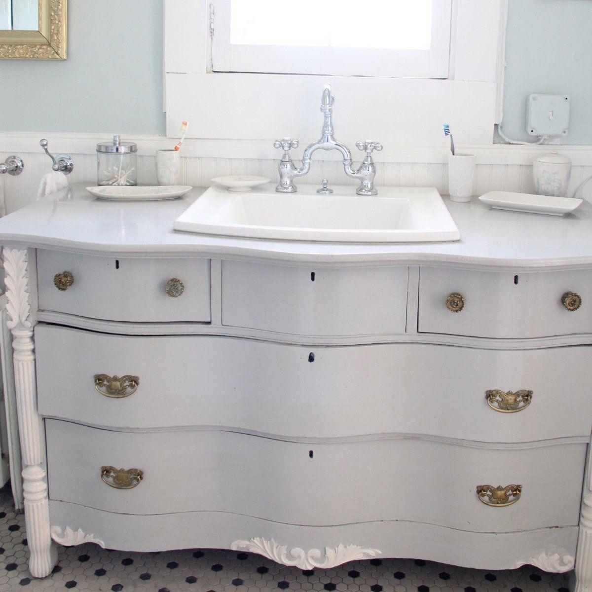 12 Astonishing Diy Bathroom Vanity Makeovers Diy Bathroom Vanity Distressed Bathroom Vanity Dresser Vanity Bathroom [ 1200 x 1200 Pixel ]