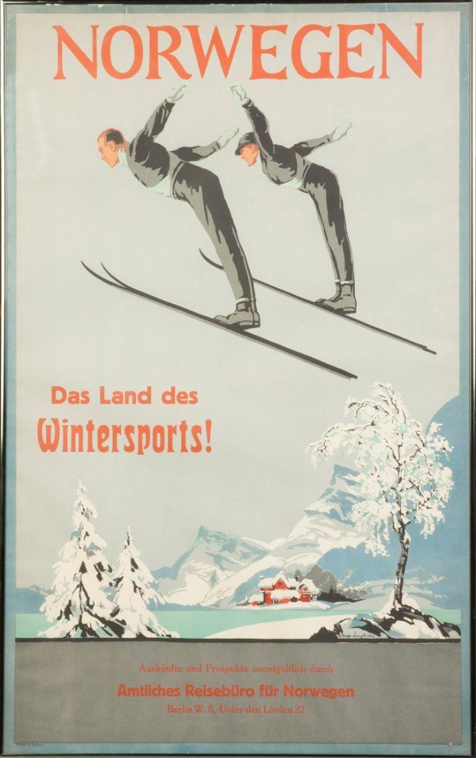 POSTER NORWAY COUPLE SKI JUMPING WINTER SPORT SKIING VINTAGE REPRO FREE S//H