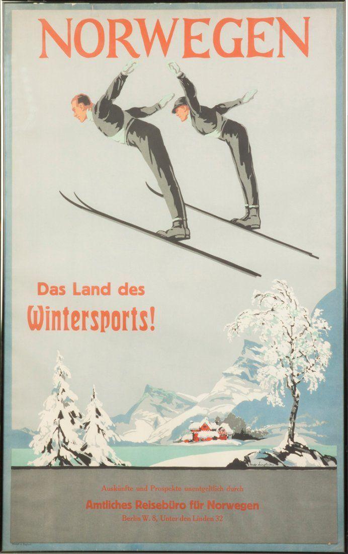 Vintage Travel Poster - Norway - Winter Sport u2026 Pinteresu2026 - deko für küchenwände