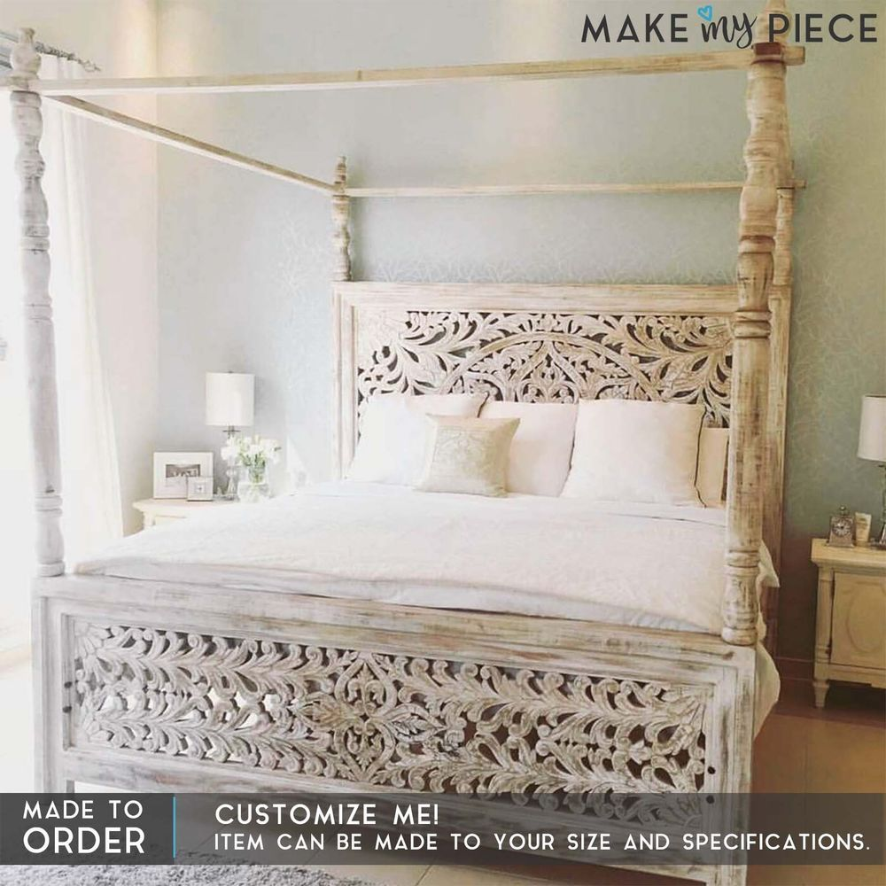 Made to order dynasty post poster hand carved panel bed frame