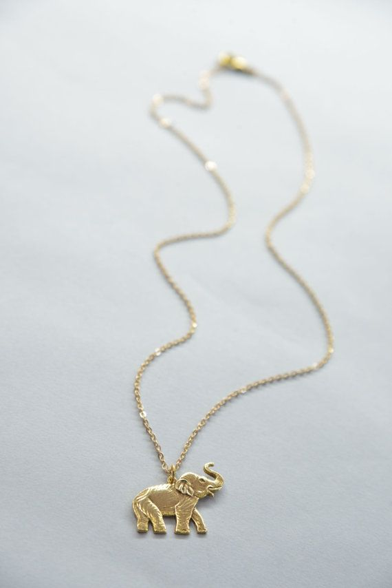Lovely Elephant Necklace // 14k Gold Chain Necklace // Gold Elephant  PS15