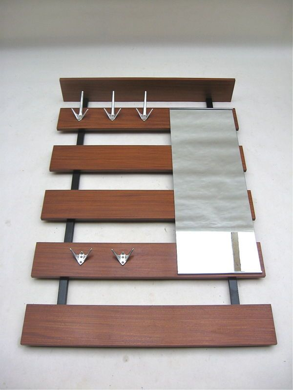 Architectural Wall Mount Coat Rack Mirror Danish Modern