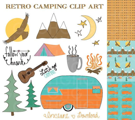 Camping Clip Art Retro Camper Tent By GraceHarveyGraphics 499