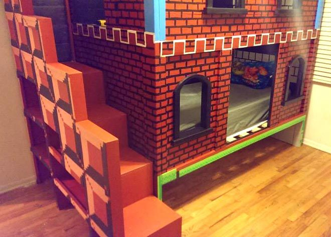 il construit un lit superpose mario pour son enfant le blog de poufy