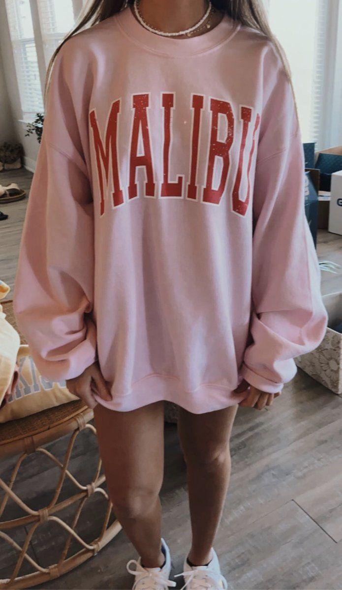 Malibu Sweatshirt Sunkissedcoconut Oversized Sweatshirt Outfit Trendy Hoodies Cute Lazy Outfits [ 1200 x 695 Pixel ]