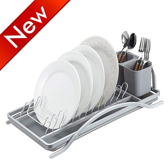 Kitchen Dish Rack, Aluminum Drying Plate Rack, Rustproof Dish Drainers with Drainboard #plateracks
