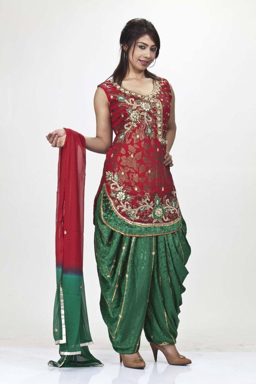 Indischer ethnischer Designer Punjabi Patiala Dhoti Salwar Anzug f/ür Damen