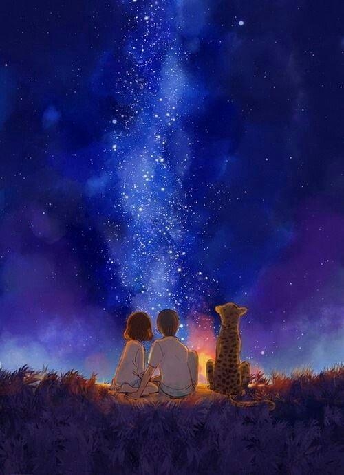 Bonfire Anime Scenery Sky Art Pictures