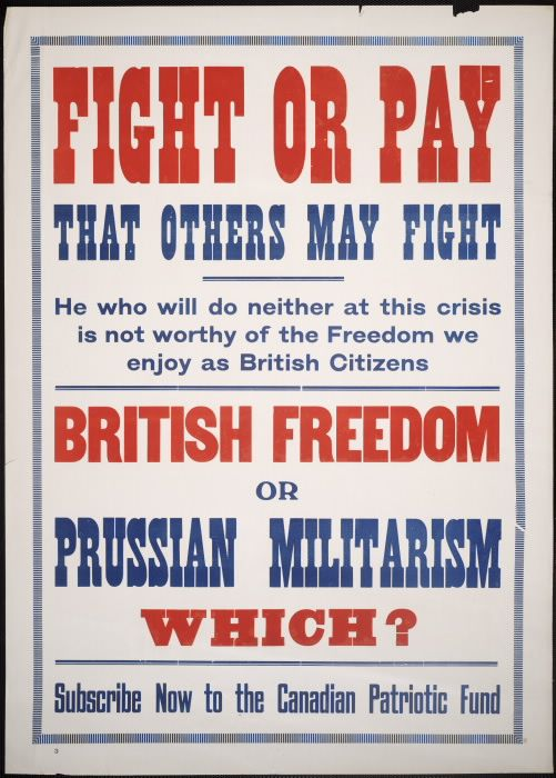 Wwi Era Poster For The Canadian Patriotic Fund History